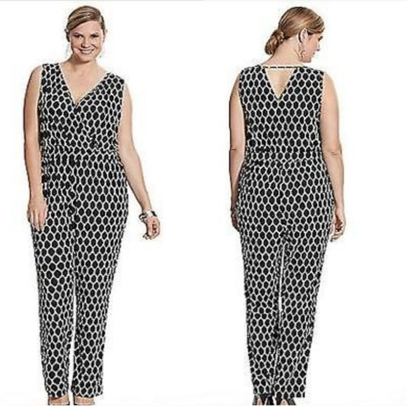 Lane Bryant Pants Black White Graphic Polka Dot Jumpsuit Poshmark